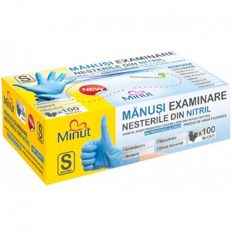 Manusi examinare nitril, nepudrate, Minut, marimi S, M, L, albastre