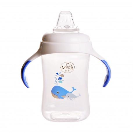 Cana cu manere si cioc de silicon Minut Baby, 300 ml, 6+