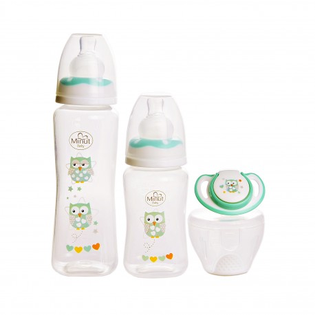 Set 2 biberoane 125 ml, 250 ml + suzeta in cutie sterilizare Minut Baby 0+