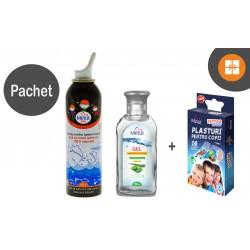 Apa de mare izotonica 150 ml + gel antibacterian 80 ml + plasturi copii tattoo CADOU