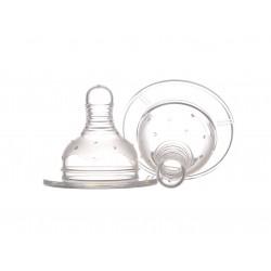 Set 2 tetine Minut Baby silicon pentru biberoane gat larg, S