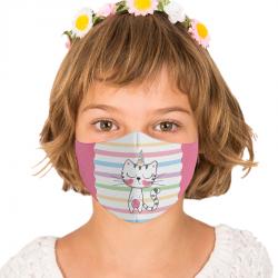 """Mască textilă reutilizabilă cu buzunar """"Sleepy Kitty"""" - Copii, Multicolor"""