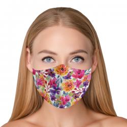 """Mască textilă reutilizabilă cu buzunar """"Watercolour Flowers"""" - Damă, Multicolor"""