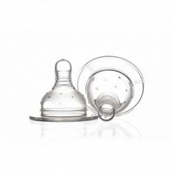 Set 2 tetine Minut Baby silicon pentru biberoane gat larg, M