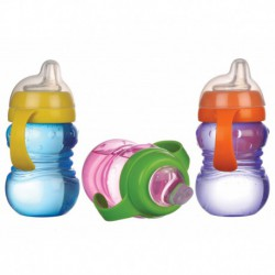 Cana anticurgere Minut Baby 6+ , cu manere si cioc silicon 275 ml- diverse culori