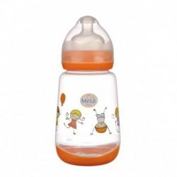 Biberon Minut Baby 300 ml gat larg cu tetina silicon 0+, diverse culori  Culoare-Portocaliu