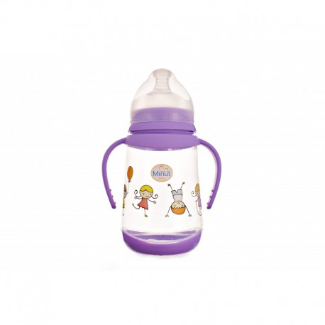 Biberon Minut Baby, 300 ml, cu gat larg, tetina de silicon, manere si capac lapte